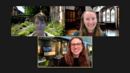 Screenshot of a Zoom call showing three women imposed on three different backgrounds: a garden, a panelled room and a Museum gallery.