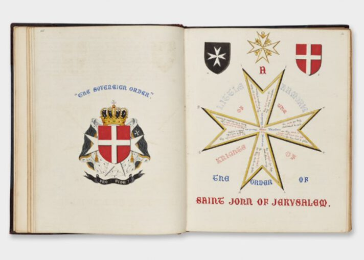 Photograph of the double page spread of an open book with illustrations of the arms of the Priory of England of the Order of St John on the left and an annotated eight-pointed cross on the right.