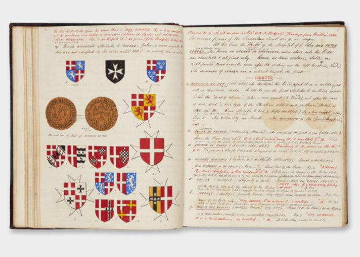 A photograph of the double-page spread of an open book with illustrations of coats of arms on the left hand page and handwritten text on the right hand page.